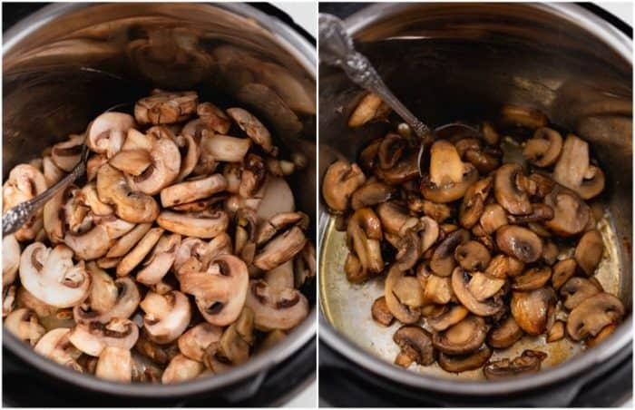 An instant pot with white button mushrooms before and after being cooked.