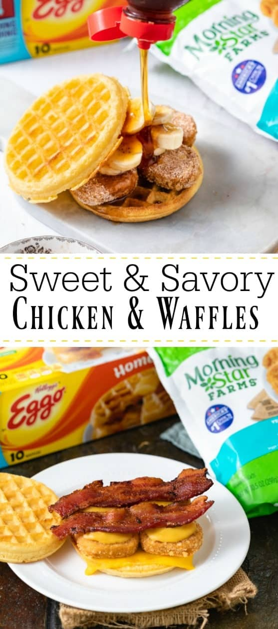 Which one will you choose? Grilled Cheese Chicken & Waffle with Bacon or Cinnamon Sugar Chicken & Waffles with Banana? You might just have to try them both! | The Cozy Cook | #breakfast #waffles #chicken #snack #kidrecipes
