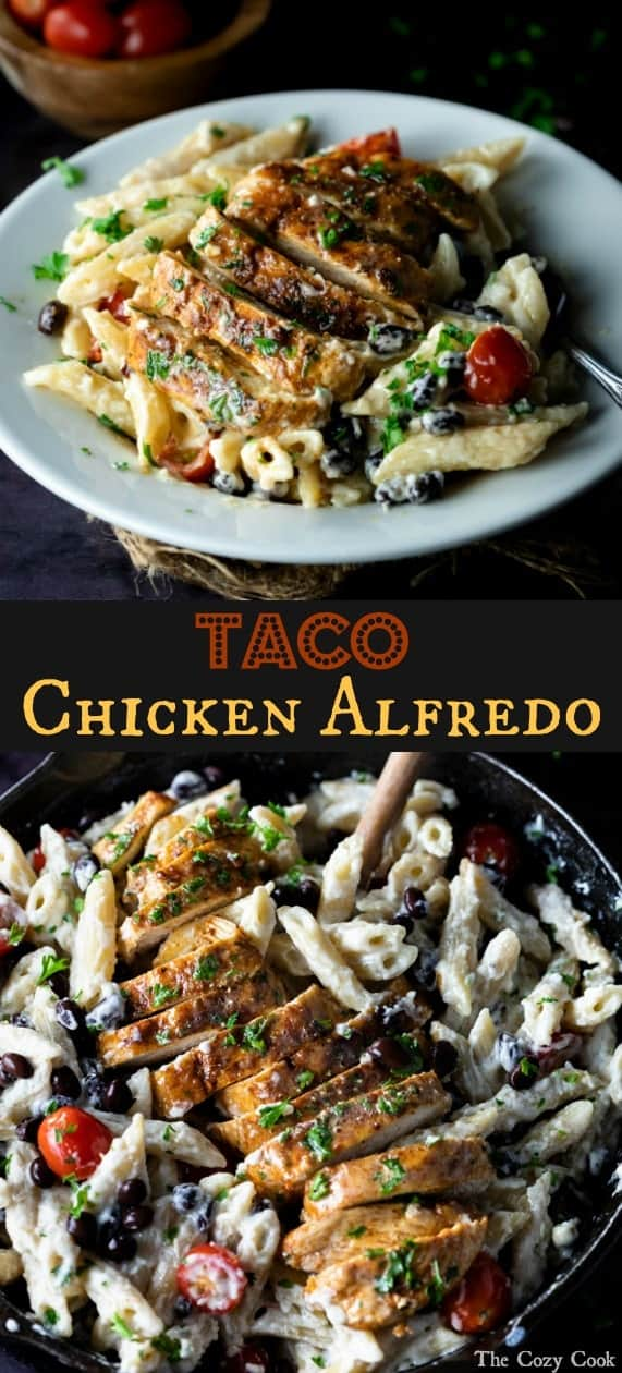 Perfectly seared chicken smothered with taco seasoning and served over Alfredo pasta along with your favorite taco ingredients! | The Cozy Cook | #Alfredo #Pasta #Mexican #ComfortFood #Main #Entree #Taco #chicken