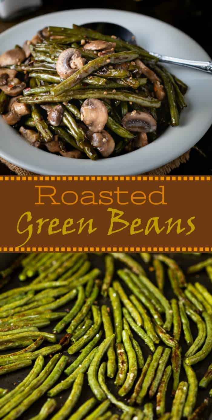 These Roasted Green Beans are tossed in olive oil, sprinkled with sea salt and freshly cracked pepper, and topped with an easy mushroom garlic butter sauce! | The Cozy Cook | #greenbeans #roasted #sidedish #vegetables #mushrooms #stringbeans
