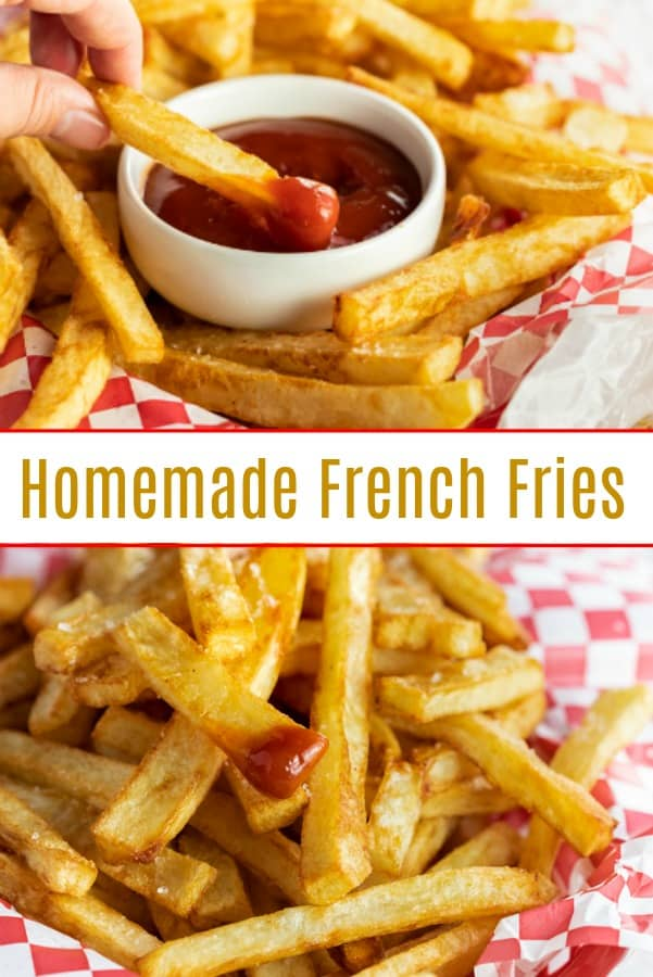 You will think you're eating at a restaurant when you taste these extra crispy, golden homemade french fries! Add a sprinkle of salt and a side of ketchup and you're family will be in french fry heaven! | The Cozy Cook | #frenchfries #appetizers #snacks #sidedishes #fries