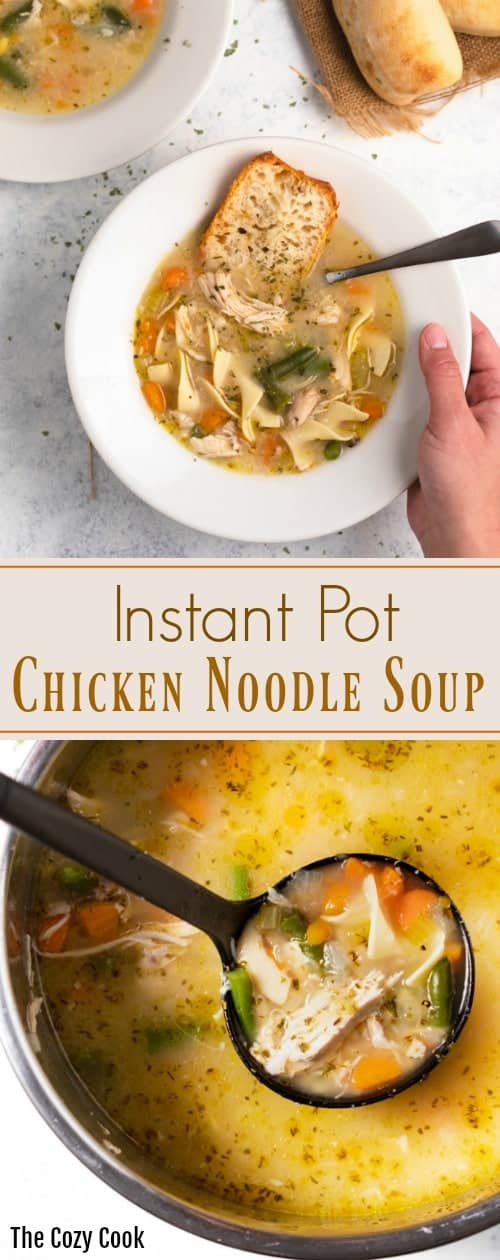 Classic and comforting chicken noodle soup prepared easily right in the Instant Pot with simple seasonings and a flavorful broth! | The Cozy Cook | #chicken #soup #noodles #instantpot