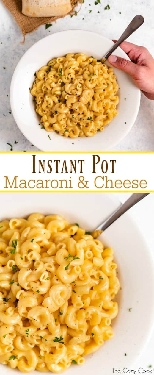This super creamy Instant Pot macaroni and cheese cooks in just 5 minutes with only a single pot to clean! Your whole family will love this extra easy, cheesy meal! | The Cozy Cook | #macaroni #cheese #instantpot #dinner #pasta