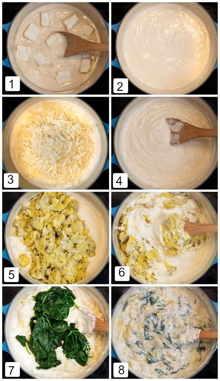 Step by step images on how to make spinach and artichoke dip