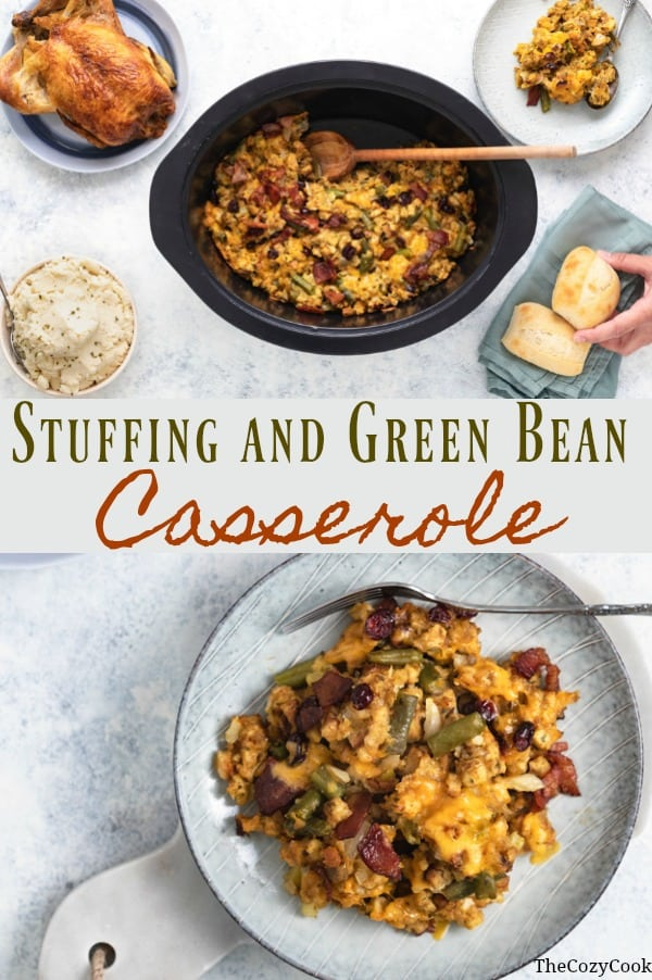 This savory Stuffing and Green Bean Casserole cooks effortlessly in your oven and makes a perfect holiday side dish for potlucks and gatherings with friends and family! | The Cozy Cook | #stuffing #casserole #greenbeans #comfortfood