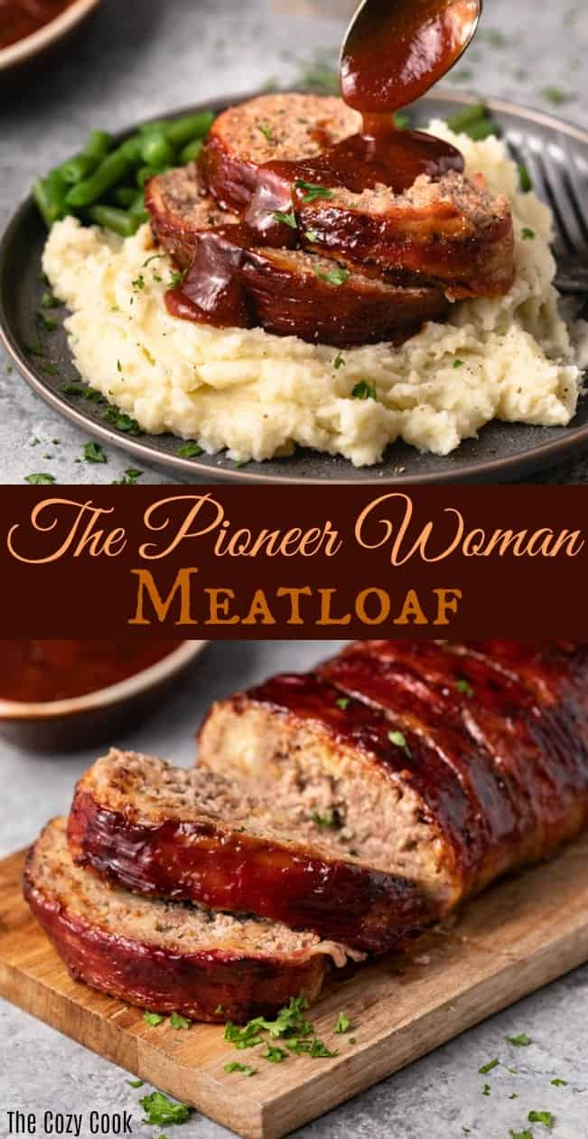 This Pioneer Woman Meatloaf Recipe is the best you'll ever try! The entire loaf is wrapped in bacon and baked to perfection, and it freezes well for future meals! | The Cozy Cook | #Meatloaf #ThePioneerWoman #Dinner #Mealprep #Beef