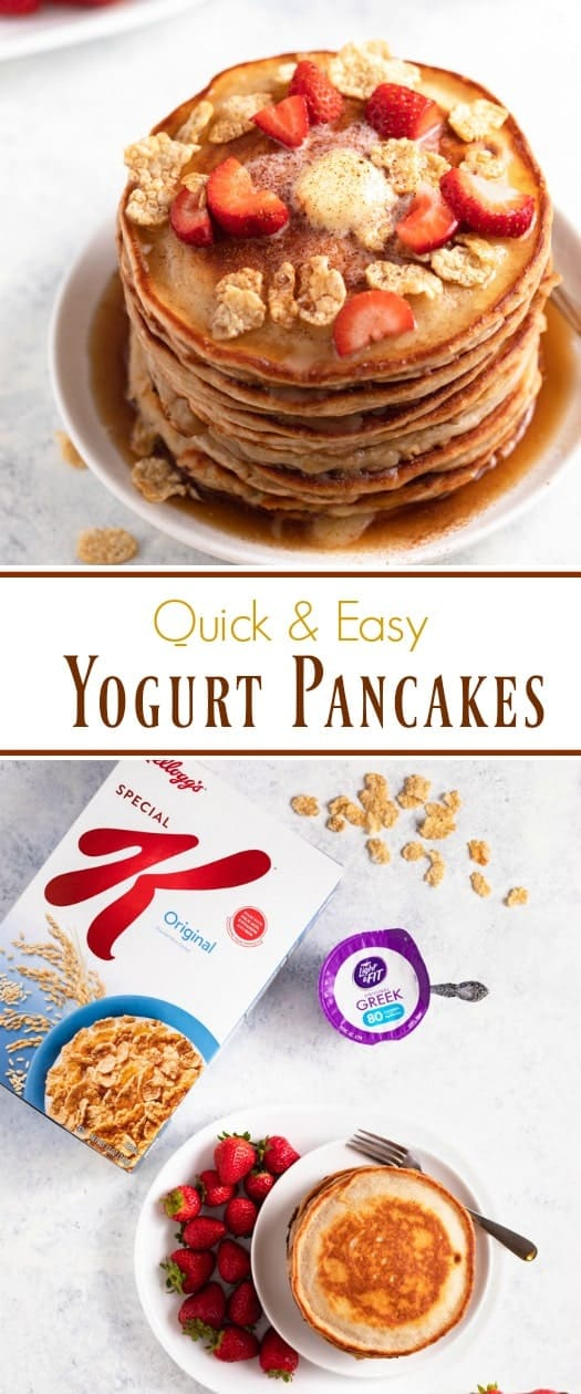 These light & fluffy Yogurt Pancakes are perfectly golden and so easy to make. They have a sweet and creamy flavor that sets them apart from your typical pancake!   The Cozy Cook   #pancake #pancakes #yogurt #breakfast #brunch