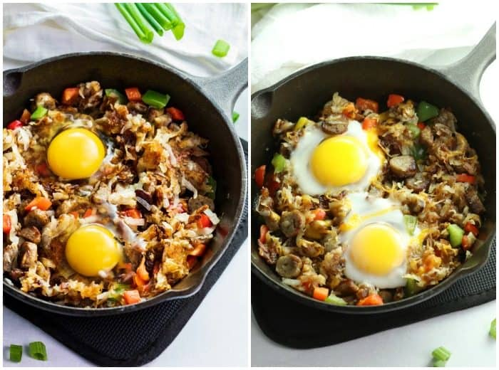 A side-by-side shot of uncooked eggs in a cast iron skillet with hash, and then the after shot of the cooked eggs.