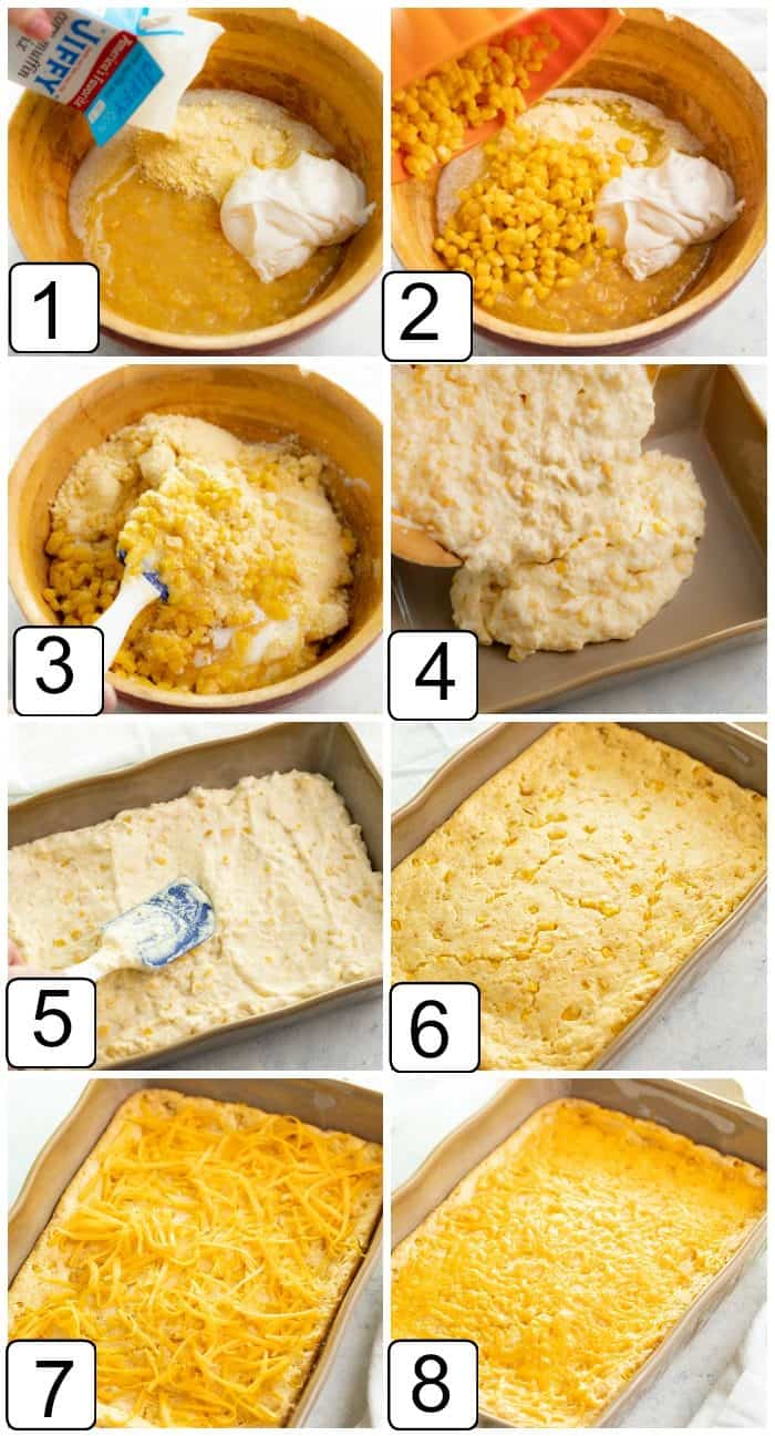 Process shots for making Paula Deen's corn casserole from beginning to end.
