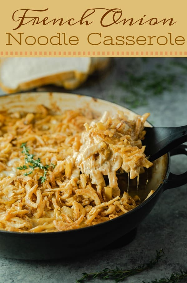 This French Onion Noodle Casserole is comfort food at its best! A creamy, cheesy filling surrounds savory egg noodles with hints of caramelized onions and a crispy fried onion topping. | The Cozy Cook | #Casserole #noodles #comfortfood #dinner #frenchonion