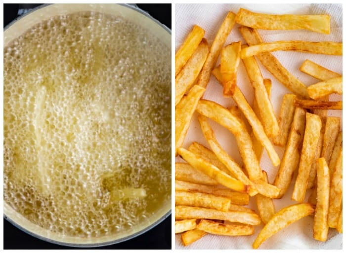 Boiling french fries in vegetable oil and laying them down on a paper towel when golden brown.