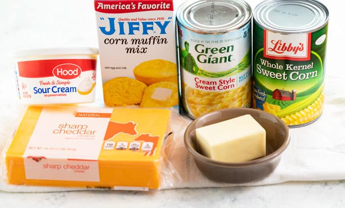 Ingredients for corn casserole with Jiffy corn muffin mix