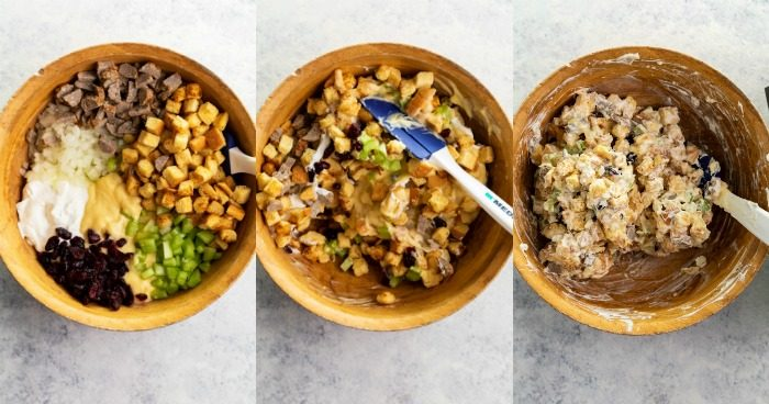 3 overhead images of mixing stuffing in a large bowl before cooking it