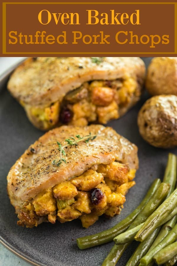 These easy-to-make Pork Chops are perfectly seasoned and stuffed with delicious sausage cranberry stuffing. They are then baked to perfection in just 20 minutes and pair perfectly with roasted potatoes and green beans.   The Cozy Cook   #PorkChops #Dinner