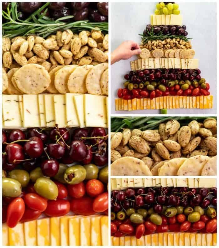 Collage of ingredients in Christmas Tree snack board