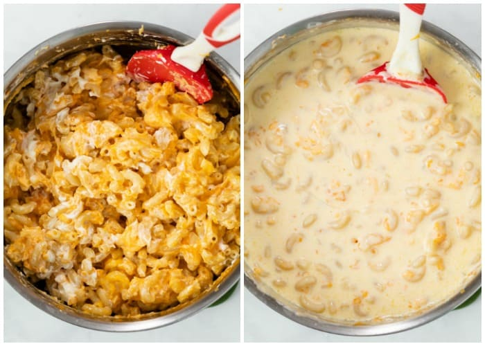 Cheese and cream sauce being added to Macaroni to make Mac and Cheese