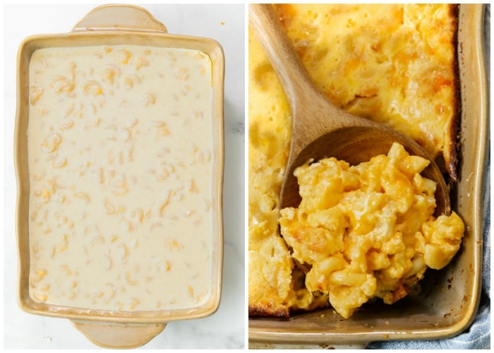 A casserole dish filled with Macaroni and Cheese before and after baking.