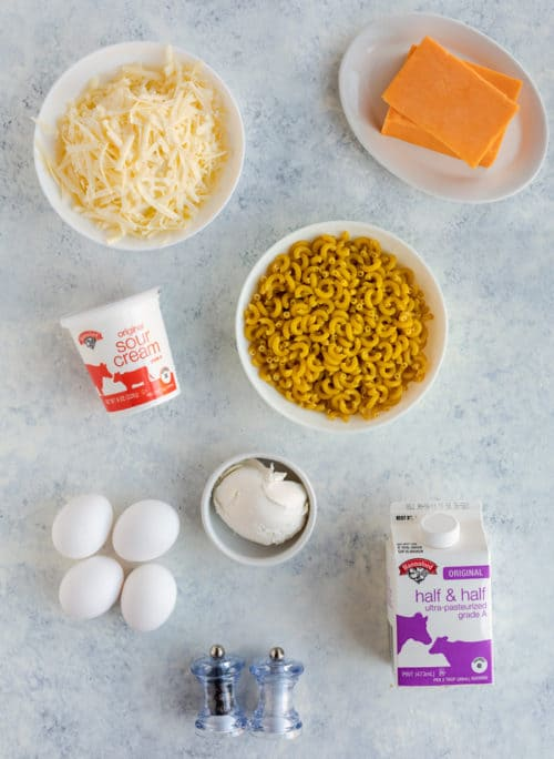 Overhead shot of macaroni and cheese ingredients
