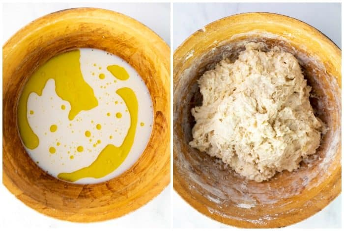 Pizza dough before and after adding flour in wooden bowl.