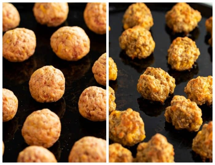 Side by side image of uncooked sausage bites and cooked sausage bites.