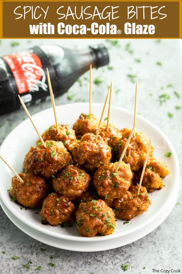 These cheesy bites of spicy sausage are coated in a sweet and fizzy Coca Cola glaze for a perfect balance of salty and sweet! They're easy to make, bake, and can be easily prepared ahead of time and frozen prior to baking! | The Cozy Cook | #appetizers #sausage