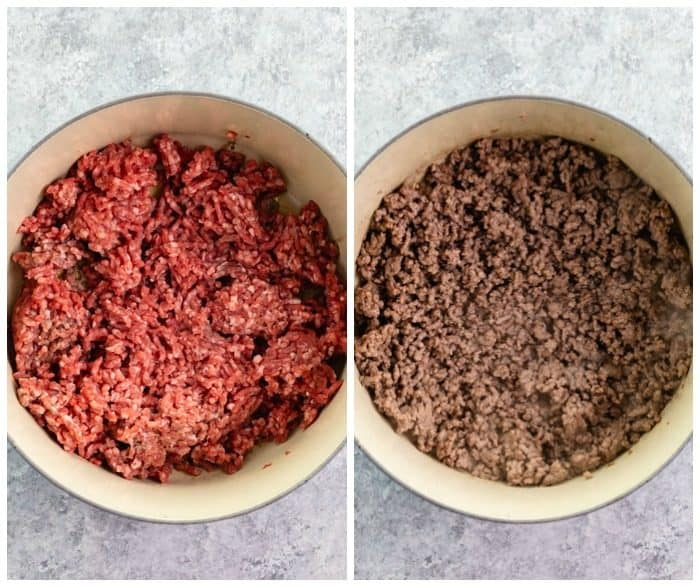 Before and after of ground beef being cooked in dutch oven.