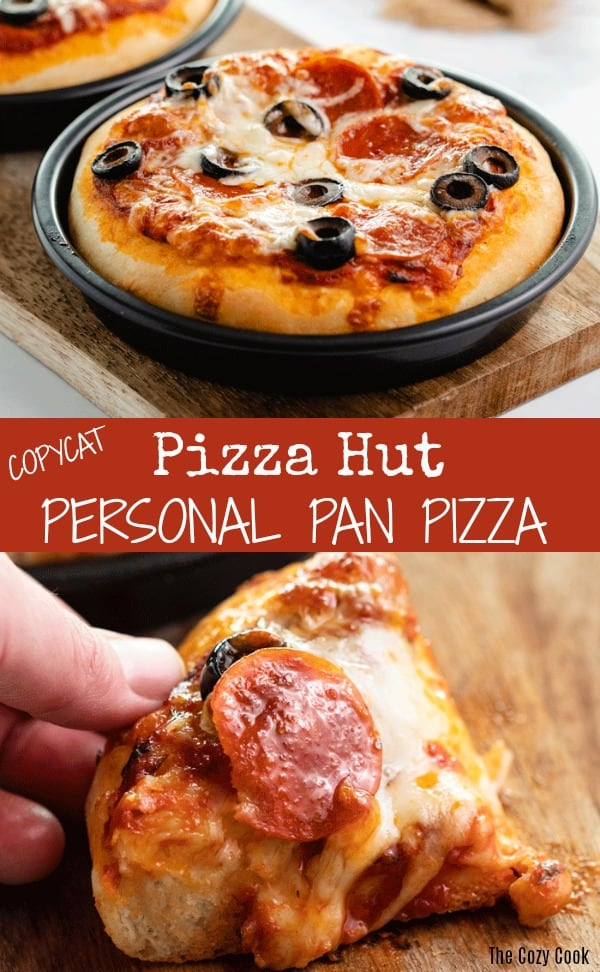 Now you can make your favorite Pizza Hut personal pan pizzas from home! This dough comes together easily and can even be frozen for future use! Add your favorite pizza toppings and enjoy every delicious bite of that golden, buttery crust!| The Cozy Cook | #pizzahut #pizza