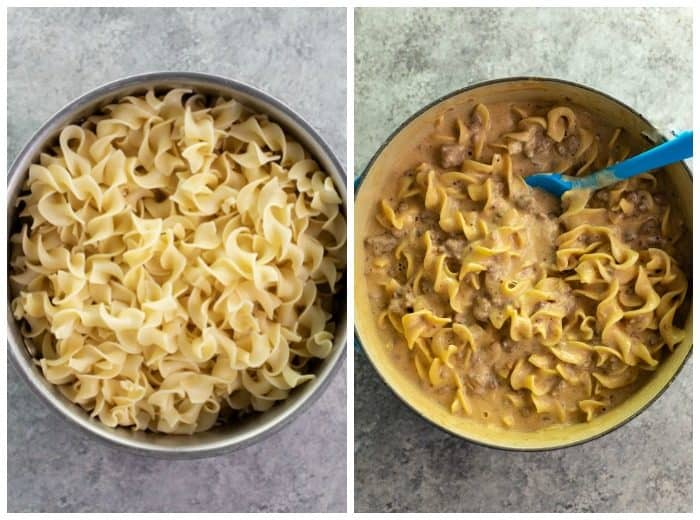 side by side image of two dutch ovens, one with egg noodles and the other with ground beef stroganoff.