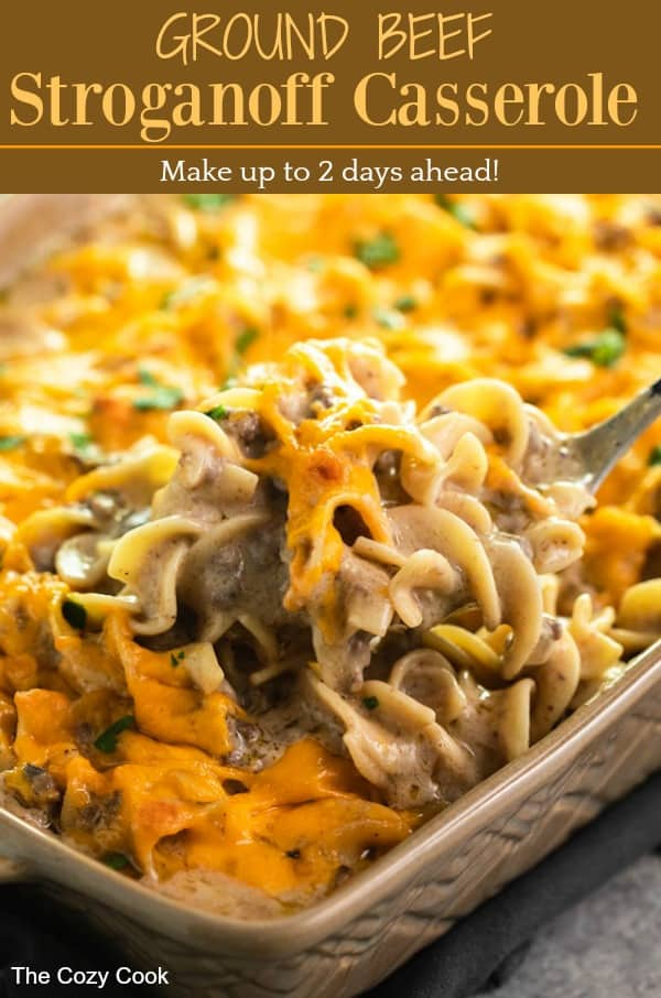This easy, make-ahead casserole is everything you love about Beef Stroganoff with the convenience of using ground beef and a handful of simple ingredients. No canned soup here, the flavor is all homemade! | The Cozy Cook | #casserole #beefstroganoff