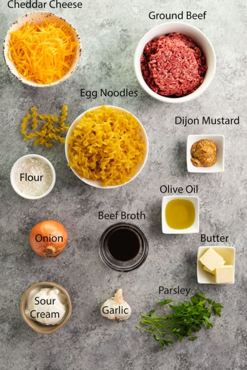 overhead shot of ingredients needed for ground beef stroganoff casserole