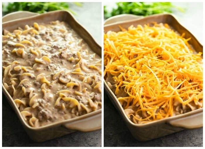 side by side image of casserole dishes filled with ground beef stroganoff, one without cheese and one with cheese.