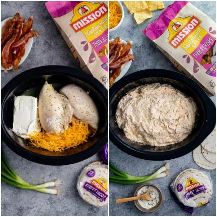 overhead before and after image of Chicken in Crock Pot for chicken ranch bacon dip