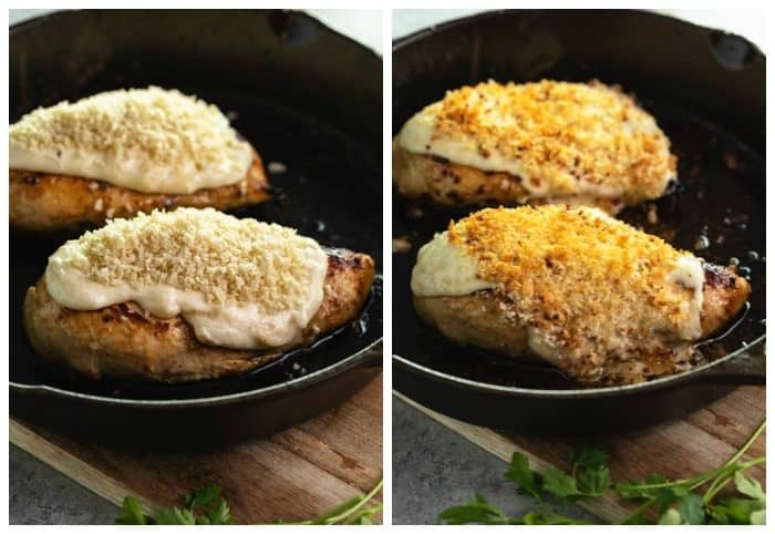 Parmesan Crusted Chicken before and after being baked