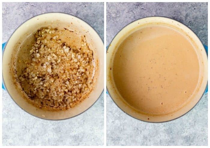 Dutch oven side by side image, one with onions and garlic, the other with stroganoff sauce.