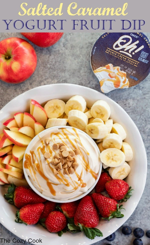 This easy Salted Caramel Fruit Dip takes minutes to make and tastes great with your favorite fruits! Just 3 simple ingredients and you've got a creamy afternoon snack for yourself, friends, or family! | The Cozy Cook | #FruitDip #Yogurt