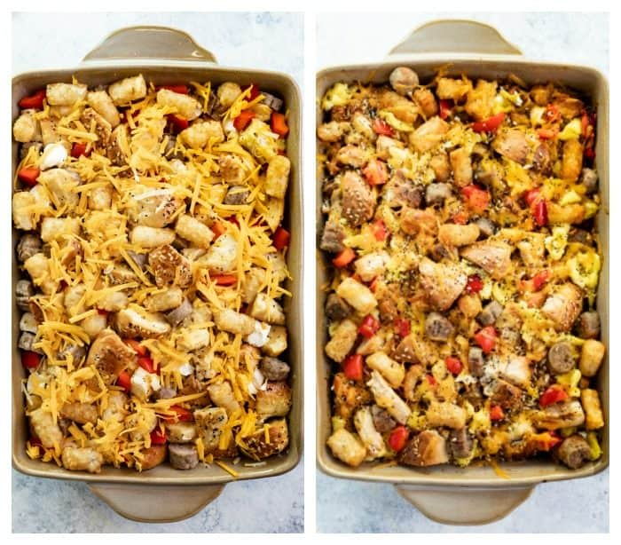 breakfast casserole before and after being baked