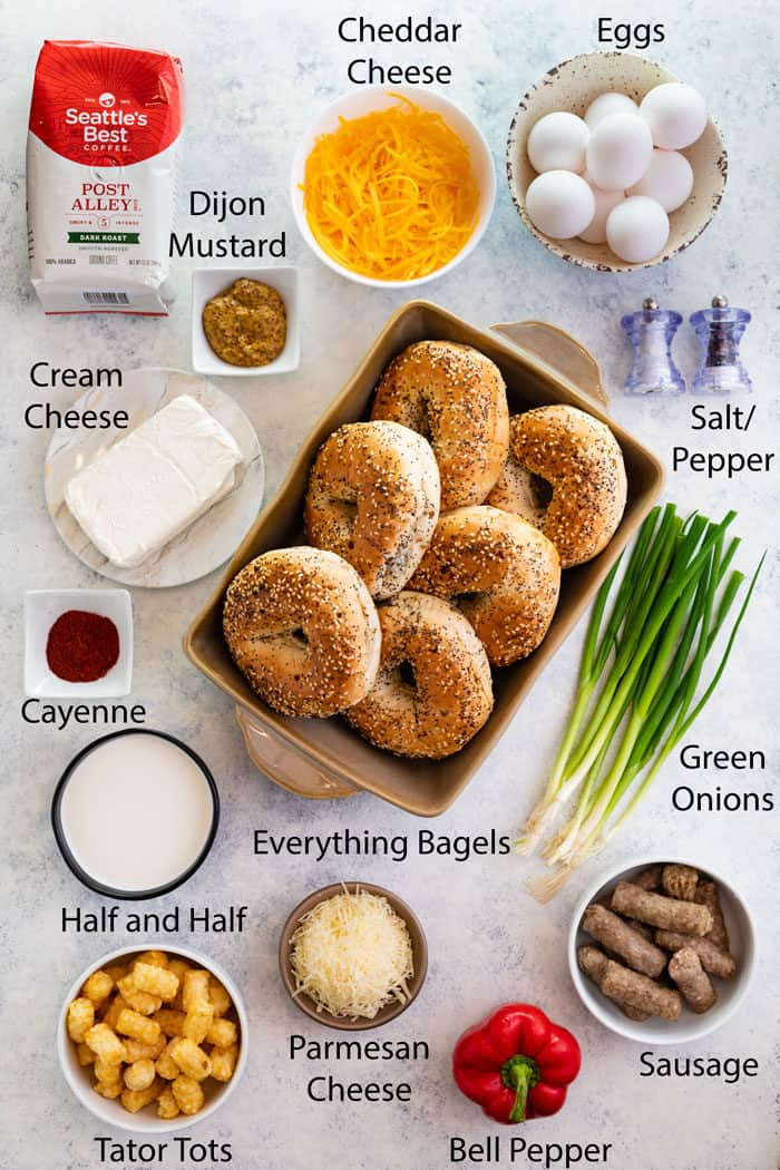 overhead shot of ingredients needed to make overnight everything bagel breakfast casserole.