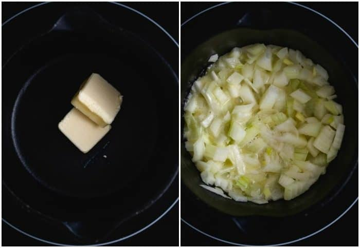 Process shots of butter in pan and onions in pan to make beer cheese fondue.