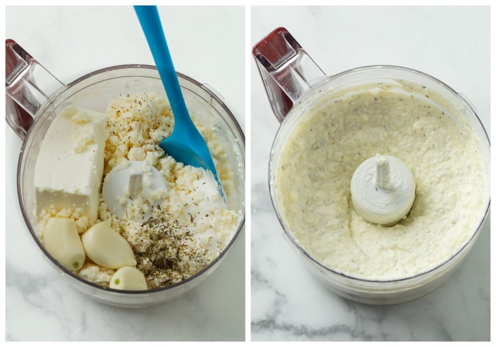 Ingredients for Feta Dip in a food processor before and after blending.