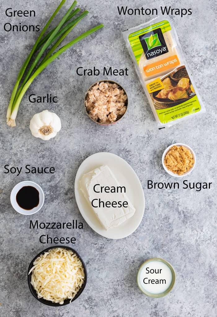 overhead view of ingredients to make crab rangoon dip