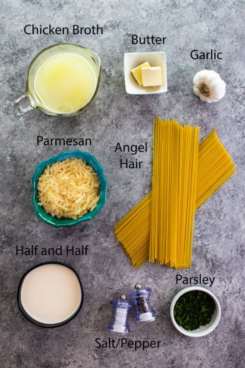 Overhead view of ingredients to make Garlic Parmesan Pasta