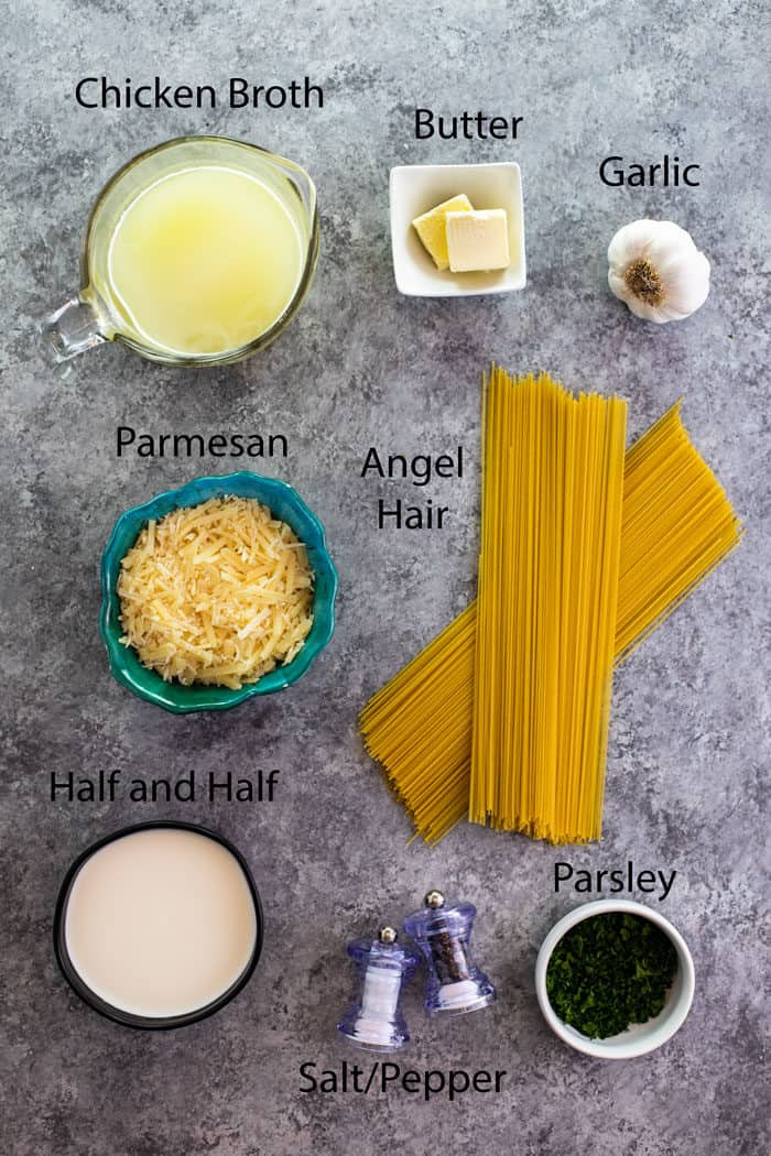 Overhead view of ingredients to make Parmesan Garlic Pasta