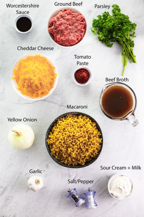 Overhead view of ingredients for cheeseburger casserole