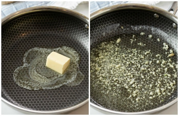 Skillets side by side showing butter being melted and minced garlic being cooked.
