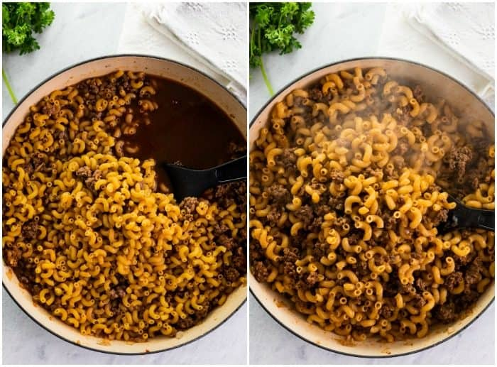 Macaroni being cooked in a dutch oven for cheeseburger casserole.