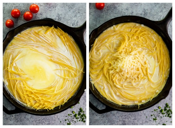 Showing angel hair pasta cook in buttery garlic parmesan sauce in a cast iron skillet.