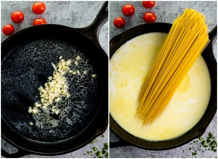 Showing melted butter and minced garlic in a cast iron pan next to a pan with a garlic parmesan sauce with pasta noodles in it.