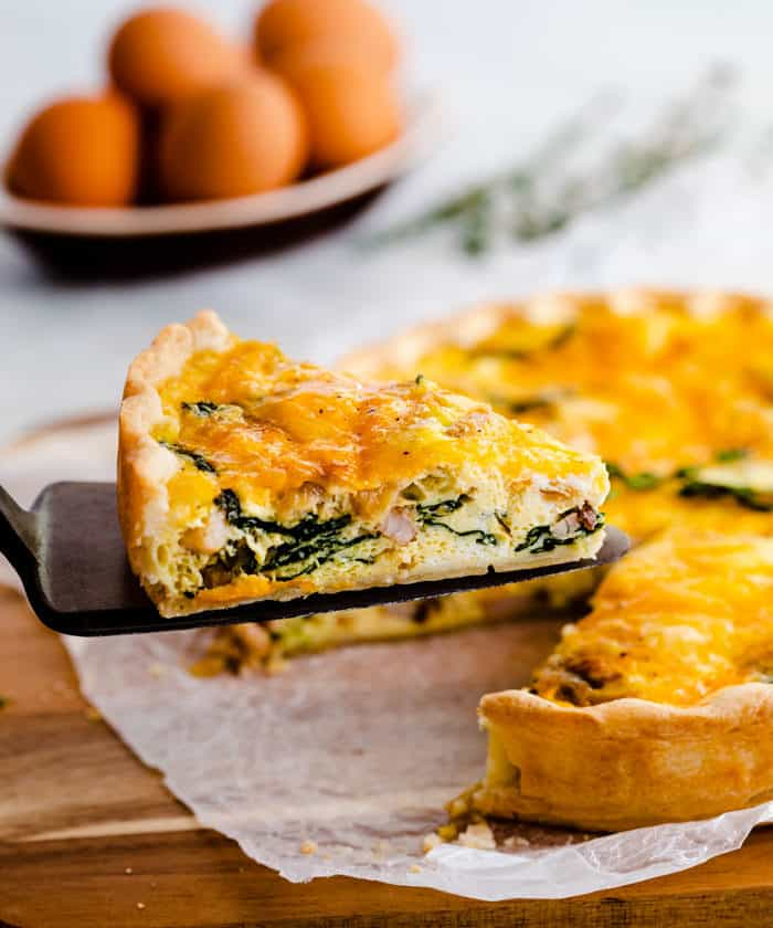 Ham and Cheese Quiche (Make Ahead & Freezer Friendly!) - The