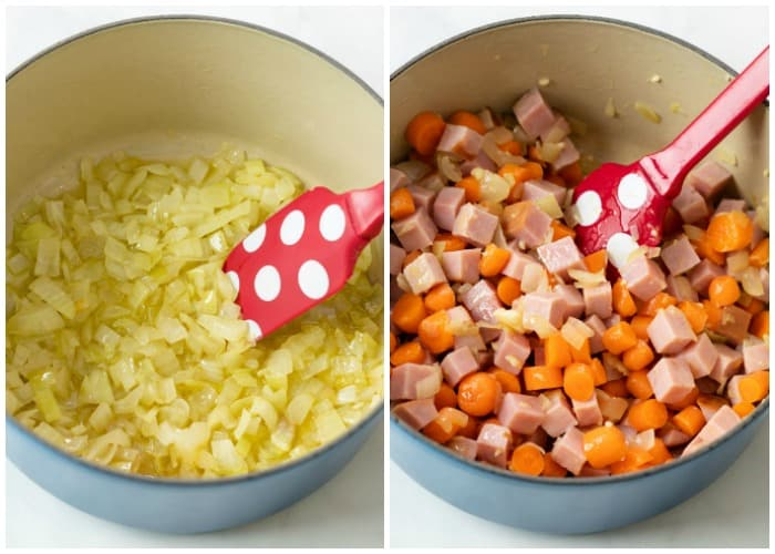 Sauteed onions in a pot next to a pot with diced carrots, ham, and garlic.