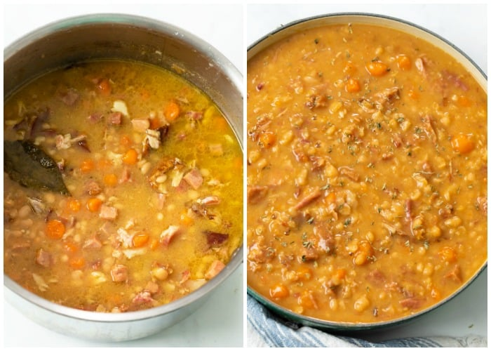 A pot of Ham and Bean soup before and after simmering and thickening.